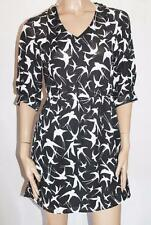 ASOS Brand Black White Swallow Bird Print Chiffon Dress Size 6 BNWT #SV25