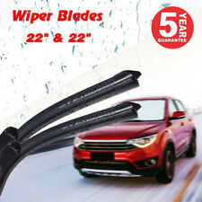 "22"" & 22"" INCH Bracketless Windshield Wiper Blades All Season J-HOOK OEM QUALITY"