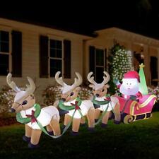 Noel Merry Christmas Time 3ft Self Inflating Light Up Santa & Reindeer