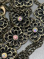 Women's Ladies Necklace Premier Designs Aurora Borealis Flower Link  Brass Tone