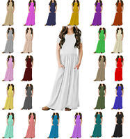 Papaval KCSPM Girls Kids Cap Sleeve Plain Casual Long Maxi Dress with Pockets
