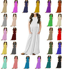 Papaval KCSPM Girls Kids Cap Sleeve Plain Casual Long Maxi Dress with Pockets