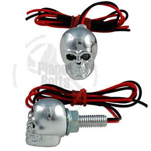 Blue Chrome Skull LED License Plate Bolts Motorcycle Nut Accent Light Fastener