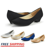 Women's Slip On Pump Shoes Classic Round Toe Low Chunky Heel Pump Shoes