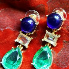 Earring Stud Gold Navy Blue Green Yellow Crystal Drop Rectangle Pendant Retro A4