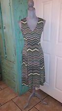 JULIAN TAYLOR, New York, Sleeveless, Stretchy, V-Neck, Slightly Flared Dress, 6