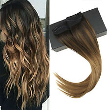Sunny Invisible Halo Human Hair Extensions Balayage Brown with Caramel #2/6/27