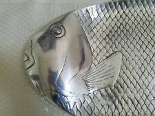 "Large Cast Metal Aluminum Fish Platter Serving Dish Tray 22.5"" x 11"""