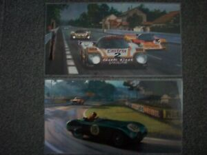 BACK TO BACK PICTURES  SILK CUT JAGUAR NO2 AND C-TYPE NO18 LAMINATED