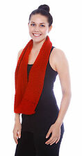 Women Fashion Infinity Style Knit Cowl- Red Circle Loop Scarf