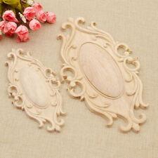 Oval Wood Carved Applique Corner Onlay Unpainted Furniture Figurines Decor DIY