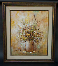 "Beautiful Vintage Still Life Floral Oil Painting on Canvas Signed ""ANDRES"""
