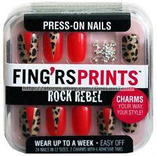 FING'RS PRINTS* 24 Press-On Nails WILD CARD Animal Print+Charms ROCK REBEL 1/9