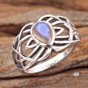Pear Labradorite Gemstone 925 sterling Silver Designer Ring Size US 6.5