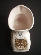 POTTERY BOOT ORNAMENT / POSY VASE ~TABBY CAT DECORATION ~ARTIST SIGNED
