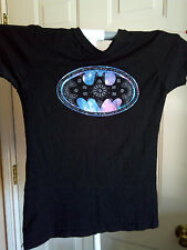 Junior's WOMEN'S GRAY FLORAL Girly BATMAN GRAPHIC T SHIRT SIZE M