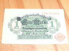 Darlehnskassenschein : 1 Mark 1914 / Stempel Rot