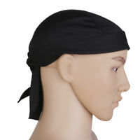 Black Head Wrap Tie Back Bandana DOO RAG Hat Pirate Scarf Biker Cycling Cap