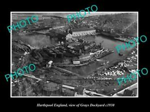 OLD 8x6 HISTORIC PHOTO OF HARTLEPOOL ENGLAND VIEW OF THE GRAYS DOCKYARD c1930