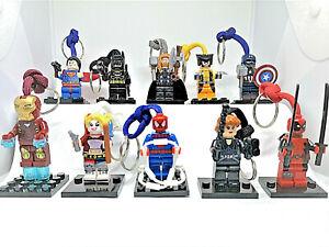 Paracord *Lego Mini Figure Keyring Keychain Marvel DC Avengers Comic Superhero