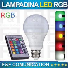 LAMPADINA LED RGB GIALLA ROSSA ROSA FUXIA VERDE ARANCIONE BLU EFFETTI LUCE E27 F