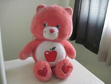 "GIANT Care Bears SMART HEART BEAR 28"" Plush Stuffed Animal Red Apple RARE"