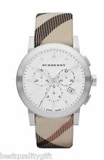 NEW-BURBERRY NOVA CHECK PLAID DIAL & BAND, SWISS,CHRONOGRAPH MEN WATCH BU9357