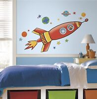 """ROCKET BiG 54"""" Wall Decals OUTER SPACE Room Decor Stickers SPACESHIP Planets 619"""
