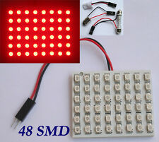 Red Car Interior Light Panel 48 LED 3528 SMD + T10 Dome BA9s Adapters 12V DC