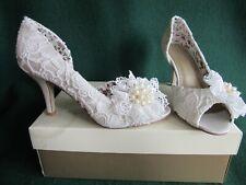 New MONSOON Uk 7 Ivory Peep-Toe VIVIEN Vintage LACE Corsage Bridal Wedding Shoes