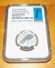 2019 CANADA $3 JUNO D-DAY REVERSE PROOF 69 PF69 SILVER FIRST DAY ISSUE NGC COIN