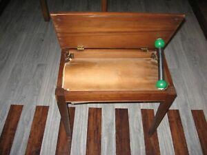 Vintage solid wood oak organ bench with lid
