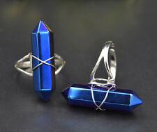 925 Silver Plt Titanium Flame Aura Quartz Adjustable Ring Thumb Ring Reiki Gift
