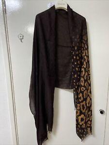 Gucci Gg Logo Leopard Long Shawl Stall Scarf coffee