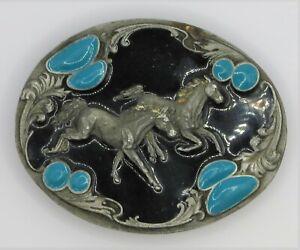 Rare Vintage Siskiyou J-7 Horse Belt Buckle 1994 Blue Stones Black Enamel Inlay