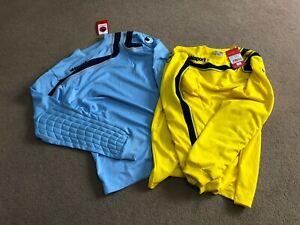 UHLSPORT MENS BOYS YELLOW Goalkeeping Shirt Long Sleeve Football Jersey 30-44