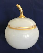 """Beautiful Antique White Opaline Glass Gold Trimmed Punch Bowl w Lid 11"""" x 8 1/2"""""""