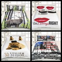 Reversible Duvet/Quilt Cover Girls Boys Bed Bedding Pillowcase Set Double King