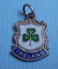 Vintage Ireland clover shamrock shield sterling charm