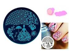 Nail Art Stamping Rose Queen Template Image Plate Stamper Scraper Kit BP 25