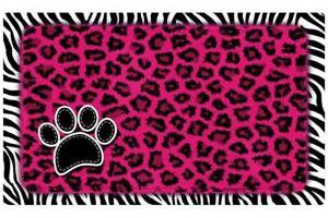 "Dog or Cat Placemat 12"" x 20""  Pet Mat Waterproof, Leopard & Zebra Pink"