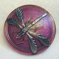 Lacy Glass Dragonfly Button Larger Wine w Silver FREE US SHIPPING 918c