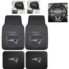 7pc NFL New England Patriots Heavy Duty Rubber Floor Mats Steering Wheel Cover