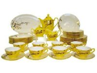 Auratic Fine Bone China Dinnerware Set 47-Piece Yellow Glaze CP 47-FE10-271A-Y