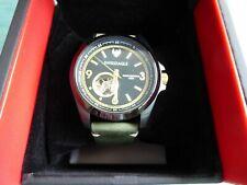 Swiss Eagle SE-9159A-03 Dufaux Swiss Automatic w Green Leather Strap Open Heart