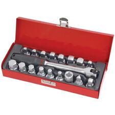 19 piezas juego de zócalos de Sumidero Enchufe de drenaje de aceite en Caja De Metal Garaje Herramienta Pro