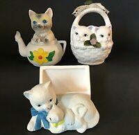 CAT TEAPOT LETTER HOLDER BASKET OF KITTENS LOT OF 3 CAT FIGURINES KITTENS