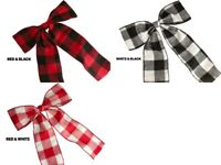 """Pre-made Bow 7""""X9"""" BUFFALO Plaid Wired Soft Flannel Ribbon Choose Color"""