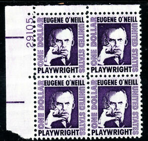 Sc# 1294 $1.00 Eugene O'Niell (1967) MNH PB/4 P# 29105 UL SCV $10.00