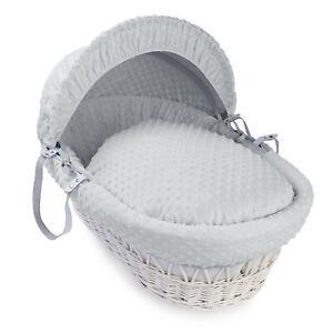 Clair de Lune White Wicker Moses Basket & Luxury Bedding Set - Dimple Grey